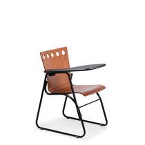 Konferenzstuhl mit Schreibplatte / stapelbar / Kufen / Holz