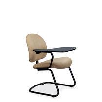 Moderner Besucherstuhl / mit Schreibplatte / Polster / mit Überhang