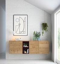 Wandmontiertes Sideboard / modern / aus Eiche