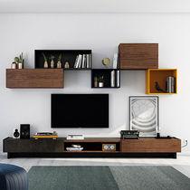 Moderne Wohnwand / lackiertes Holz / Nussbaum