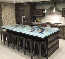 Glasarbeitsplatte / Küchen / Außen / fleckenabweisend