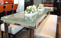 Moderner Esstisch / Glas / Aluminium / rechteckig
