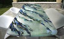 Moderner Esstisch / Glas / rechteckig / Außen