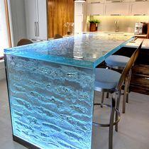 Küchentheke / Glas / gerade / L-förmig