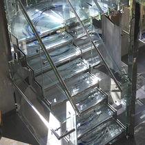 Halbgewendelte-Treppe / Glasstufen / Metallstruktur / ohne Setzstufe