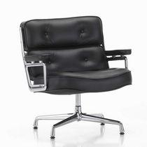 Moderner Sessel / Leder / Aluminium / drehbar