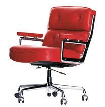 Moderner Sessel für Büro / aus Chrom / Leder / mit Rollen