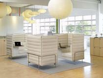 Moderner Besuchersessel / Leder / Lounge / mit hoher Rückenlehne