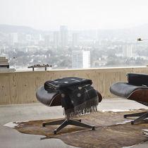 Moderner Fußschemel / Holz / Leder / für Innenbereich