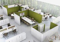 Bodenstehende Schreibtisch Trennwand / Stahl / Stoff / modulierbarer