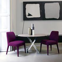Moderner Stuhl / Hochlehner / Stoff / Leder