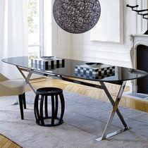 Moderner Tisch / aus Marmor / aus Holzfaser / oval