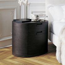 Moderner Nachttisch / Holz / oval / mit Schublade