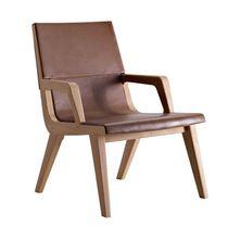 Moderner Sessel / aus Eiche / Stoff / Leder