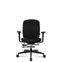 Moderner Sessel für Büro / Leder / aus Aluminium / mit Rollen