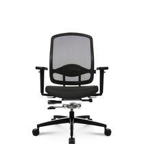 Moderner Sessel für Büro / Maschen / Leder / aus Aluminium