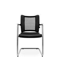 Moderner Besucherstuhl / mit Überhang / mit Armlehnen / Polster