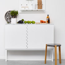 Modernes Sideboard / aus Eiche / lackiertes MDF / aus Marmor