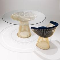Moderner Esstisch / Glas / Stahl / aus Marmor