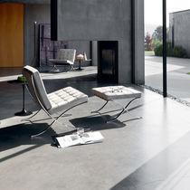 Kaminsessel / Bauhaus Design / Leder / Stahl / mit Fußstütze