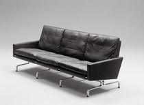Sofa / Skandinavisches Design / Leder / Stahl / 3 Plätze