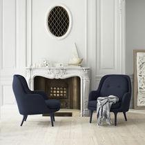 Moderner Sessel / Stoff / Aluminium / mit Fußstütze