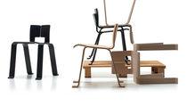 Moderner Stuhl / aus Eiche / Stapel / schwarz