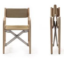 Moderner Stuhl / aus Buche / Gewebe / gebürsteter Edelstahl