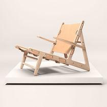 Liege / Skandinavisches Design / Leder / aus Eiche