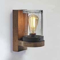 Moderne Wandleuchte / aus Teakholz / LED / rund