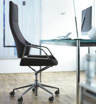 Moderner Sessel für Büro / Stoff / Leder / verchromtes Metall