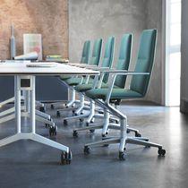 Moderner Sessel für Büro / Stoff / Leder / Aluminium