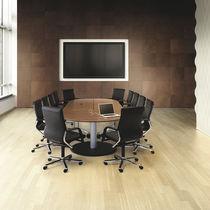 Moderner Besprechungstisch / Holz / rechteckig / mit integrierter Steckdose