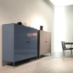 Hohes Sideboard / Modern / Lackiertes Holz / Stein