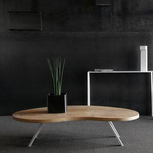 Moderner Couchtisch / Holz / Stahl / Rund