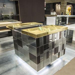 Moderne Küche / Edelstahl / Laminat / Kompakt