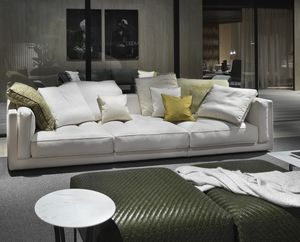 Modernes Sofa / Stoff / Leder / 3 Plätze