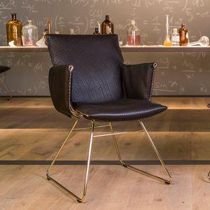 Moderner Sessel / Leder / Stoff / Stahl