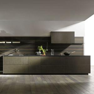 Moderne Küche / Edelstahl / Holzfurnier