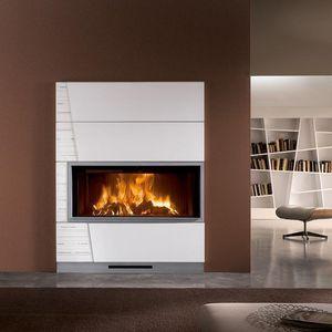 Holzbefeuerter Kamin / Gas / Multibrennstoff / Modern