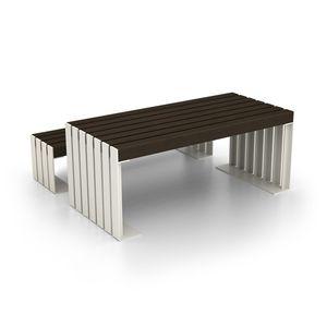 Moderner Tisch / Holz / Stahl / Rechteckig