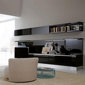Moderne Wohnwand / Lackiertes Glas