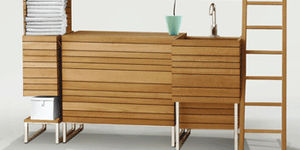 Moderner Badezimmer Schrank / Aus Teakholz