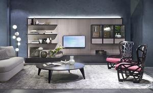 Moderne Wohnwand / Holz / Metall / Modul