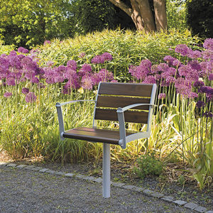 Moderner Gartenstuhl / Mit Armlehnen / Metall / Holz