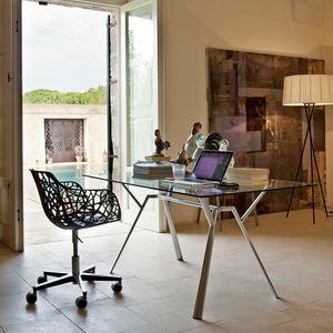 Moderner Stuhl / Mit Rollen / Sternförmiger Fuß / Aus Aluminiumguss
