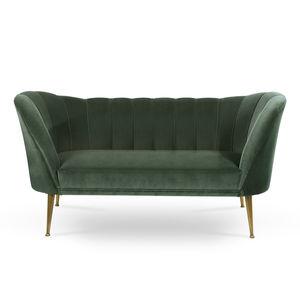 Modernes Sofa / Samt / Messing / 2 Plätze