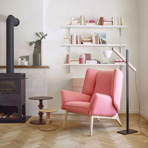 Moderner Sessel / Baumwolle / Wolle / Leder