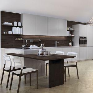 Moderne Küche / Glas / Edelstahl / Aluminium