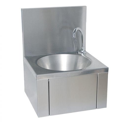 Wand-Handwaschbecken / rechteckig / Edelstahl / Objektmöbel